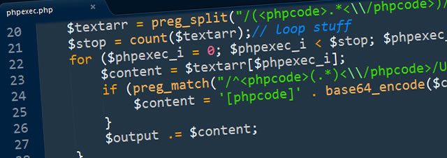 The PHP Exec code through the eyes of Sublime Text 2 with the awesome Cobalt theme
