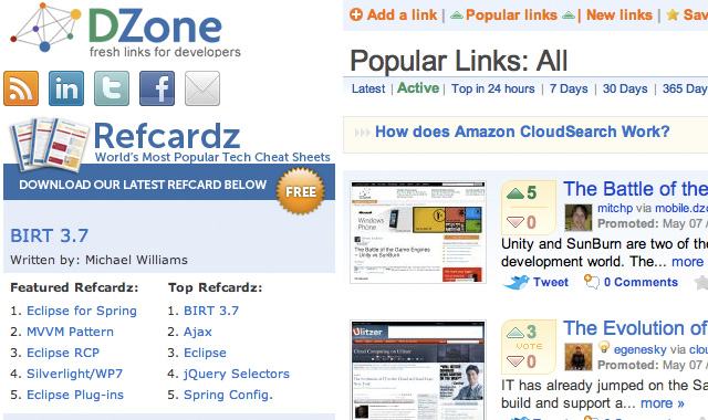 Homepage Dzone - popular tech and development news