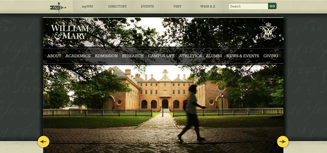 William Mary university homepage inspiration