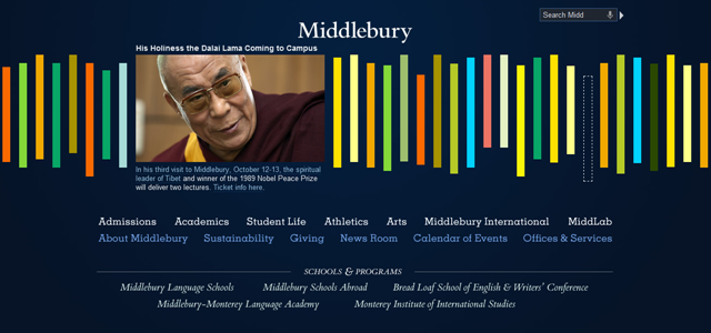 Middlebury College university homepage inspiration
