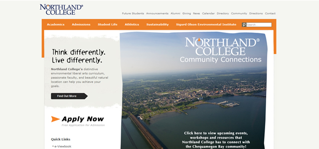 Northland College university website design