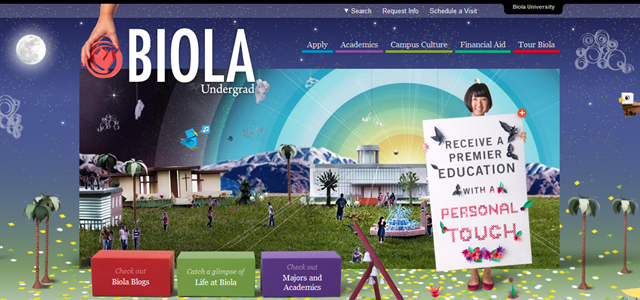 Biola Undergrad university homepage inspiration