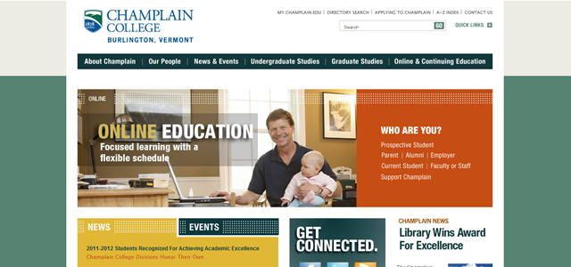 Champlain College university website design