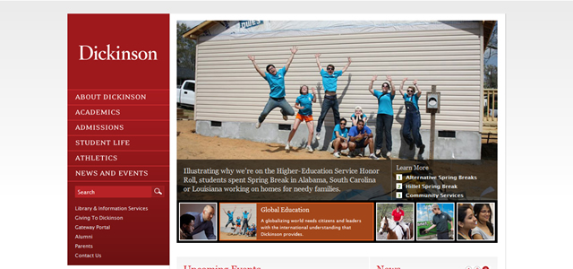 Dickinson College university homepage inspiration