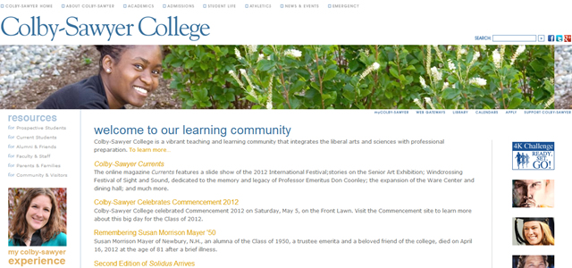 Colby-Sawyer College university website design