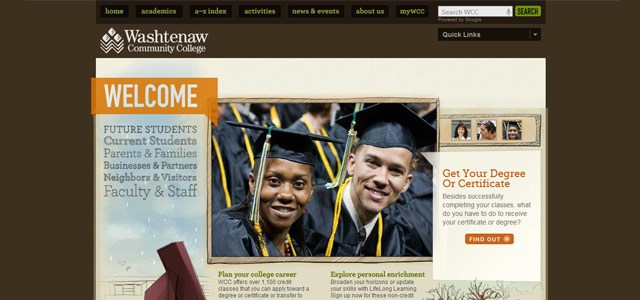 Washtenaw Community College university website design
