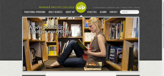 Warner Pacific College university homepage inspiration