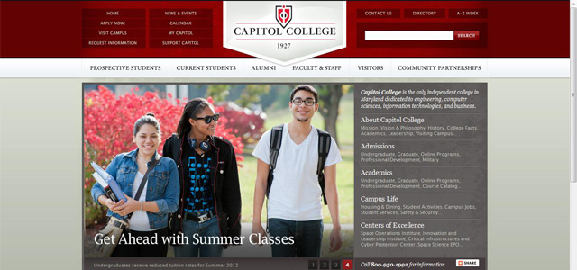 Capitol College university website design