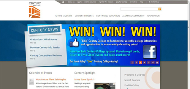 Century College university homepage inspiration