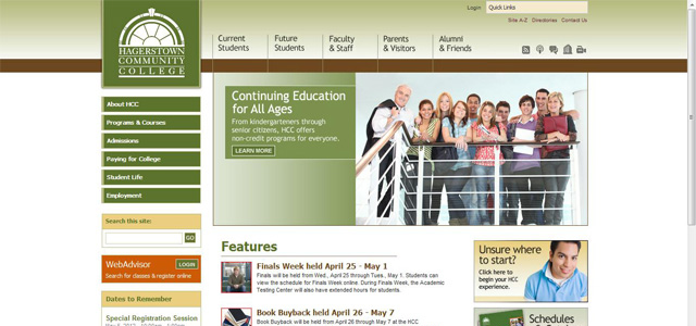 Hagerstown Community College university website design