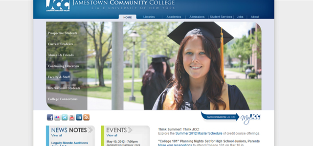 Jamestown Community College university homepage inspiration