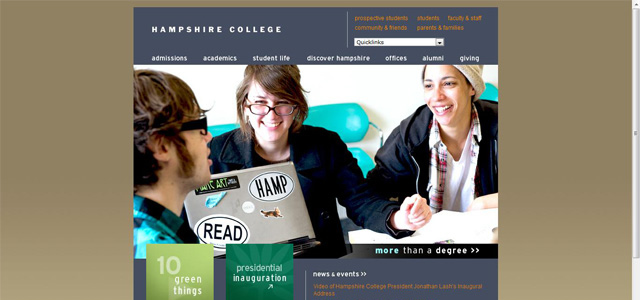 Hampshire College university website design