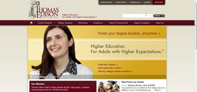 Thomas Edison State College university website design