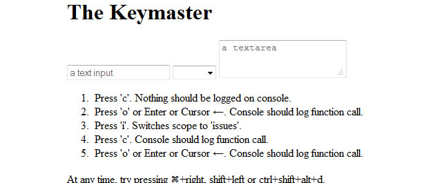 Keymaster is a simple micro-library for defining and dispatching keyboard shortcuts