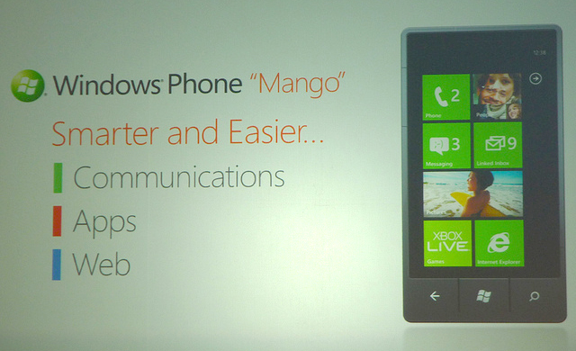 Windows Mobile Phone coded 'mango' preview banner