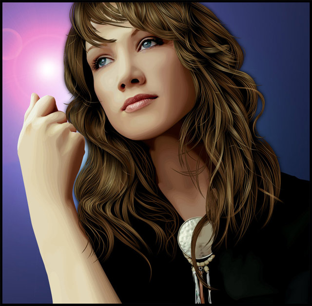 creative inspiring illustration Delta Goodrem vexel art example