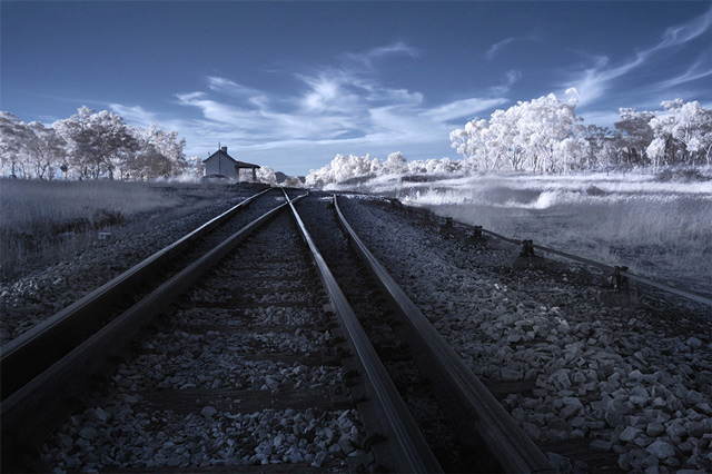 infrared photography Tracks to Nowhere