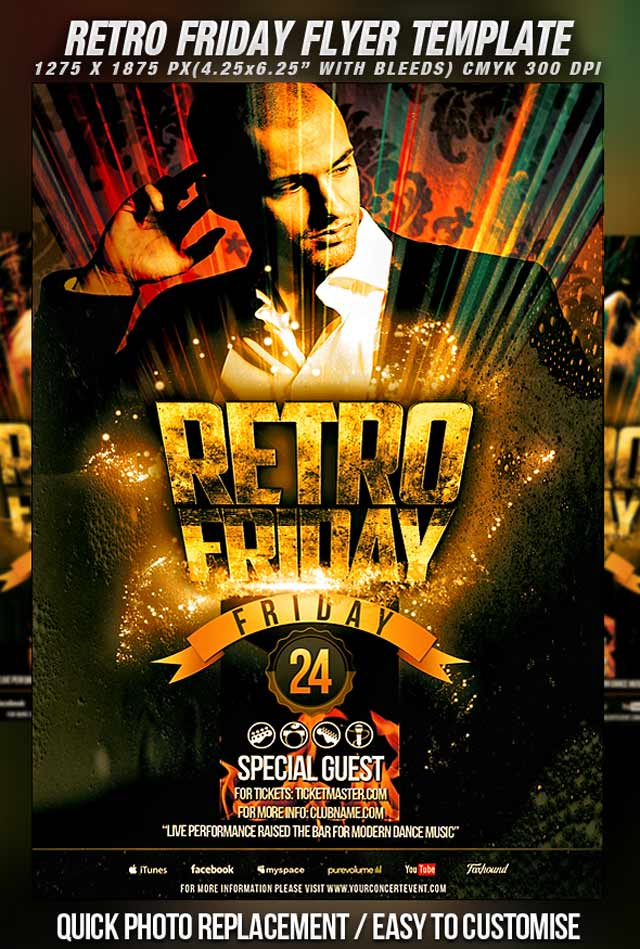 Retro Friday Flyer Template Flyer