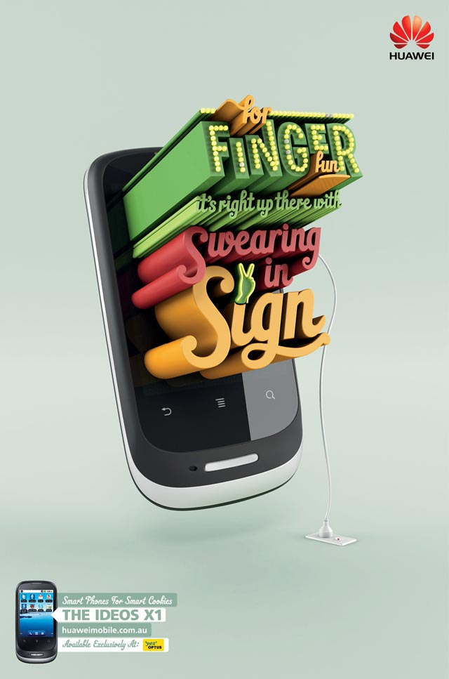 Finger Fun advertsing typography