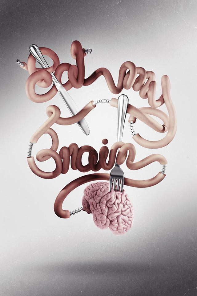 Eat My Brain typography in advertising