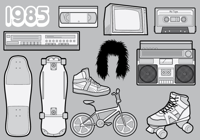 1985 – A Free Vector Pack of 80s Icons