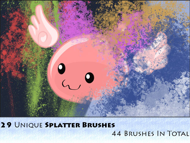 44 Splatter Brushes Pack