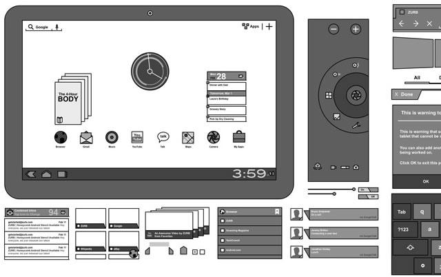 Android 3.0 Omnigraffle Stencils