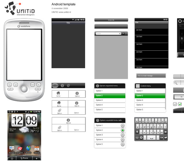 android gui stencils kits and templates