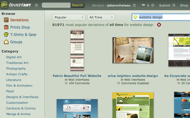 DeviantART web design search query