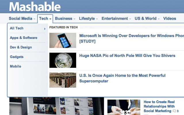 Mashable magazine 2012 dropdown navigation links