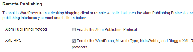 Enabling XML-RPC Protocol Desktop Clients in the WordPress