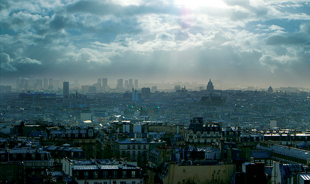 Paris France from above birds-eye view
