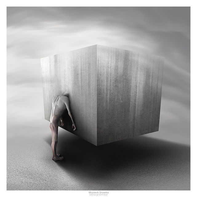 The Cube example of surreal in graphic design