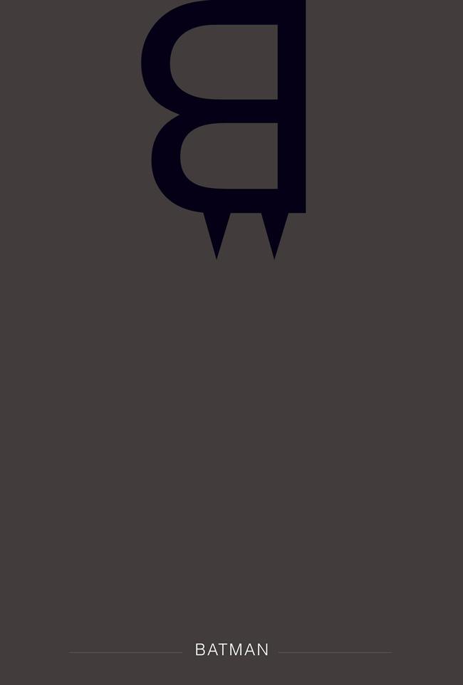 alphabet letter B helvetica font superhero batman