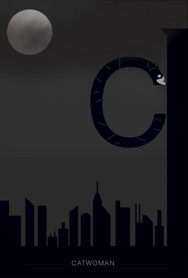 alphabet letter C helvetica font superhero catwoman
