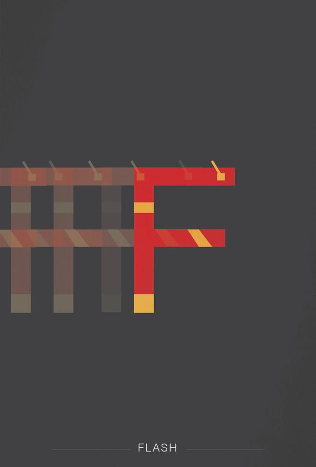 alphabet letter F helvetica font superhero flash