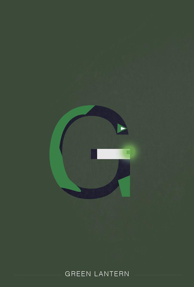 alphabet letter G helvetica font superhero green lantern