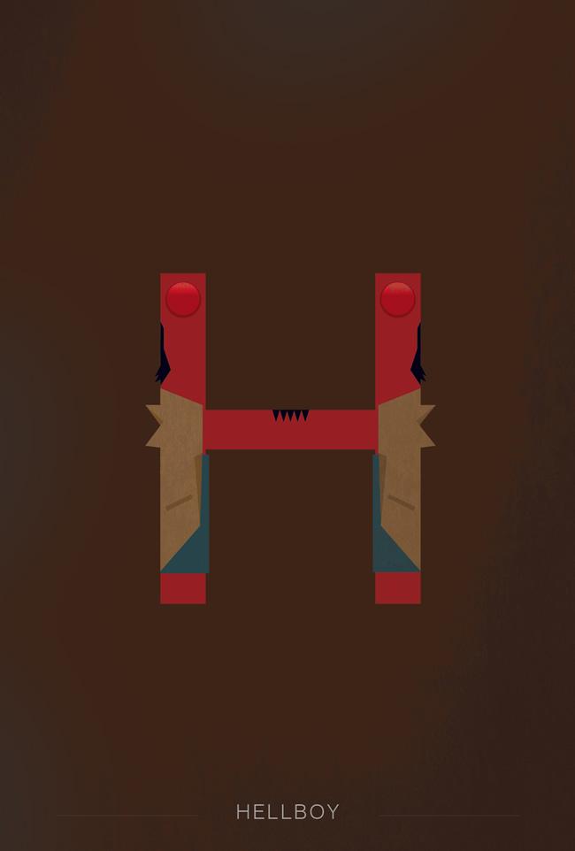 alphabet letter H helvetica font superhero hellboy