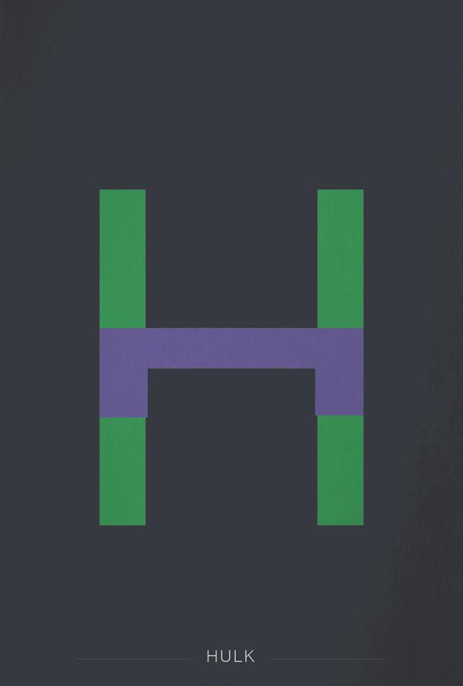 alphabet letter I helvetica superheroes font superhero the hulk