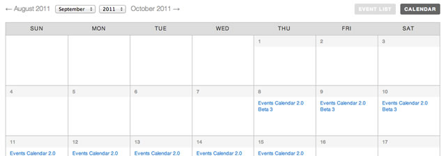 The Events Calendar Plugin