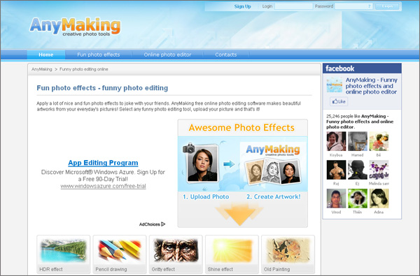AnyMaking photo editing site presents numerous creative and free photo effects