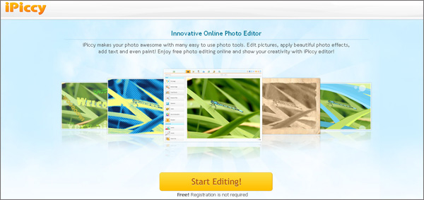iPiccy is a free online photo editing tool which doesn't request registration