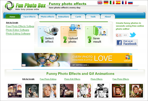 Fun Photo Box categorized website structure will help you to find the best photo effects quickly and easily
