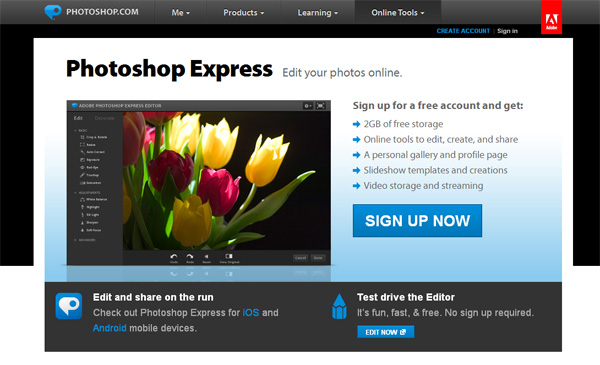 Photoshop Express will edit your images on the run