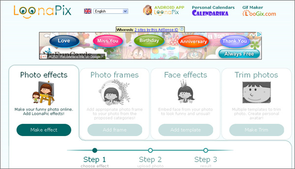 LoonaPix photo and face effects, photo frames and templates to trim photos