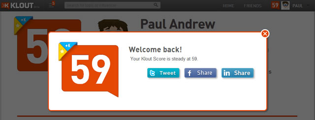 awarding Klout points and badges to users