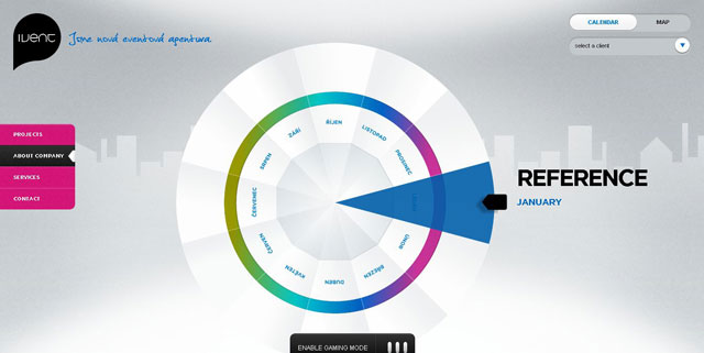 Ivent as an example of using circles in web design