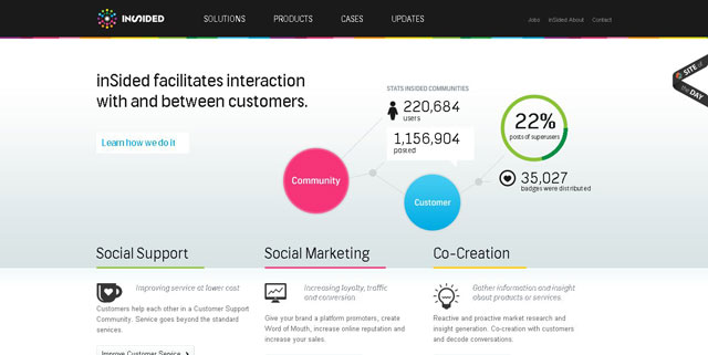 Insided as an example of using circles in web design