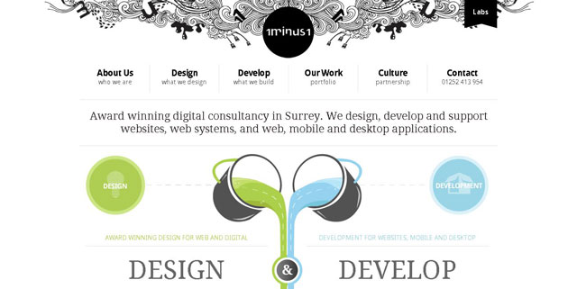 1minus1 as an example of using circles in web design