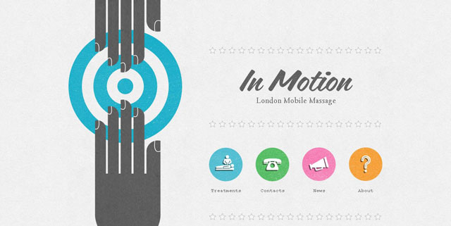 In Motion Massage makes great use of circles web design